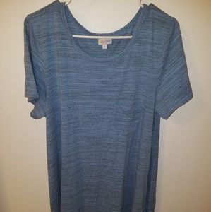 Lularoe Blue and grey microstripe Carly dress XL